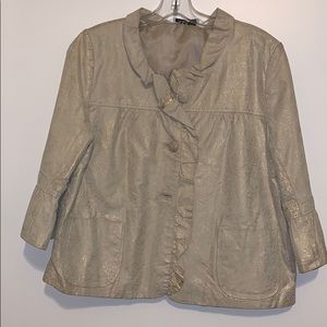 EUC faux cream leather swing jacket w/ gold detail